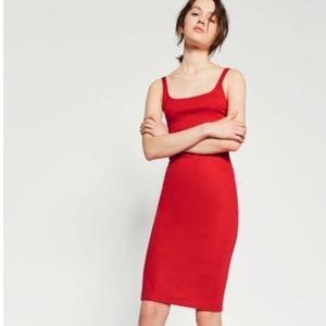 Zara Trafaluc red bodycon midi dress